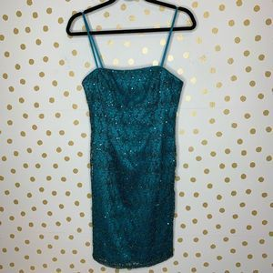 Adrianna Papell Evening Teal Sequin Lace Dress